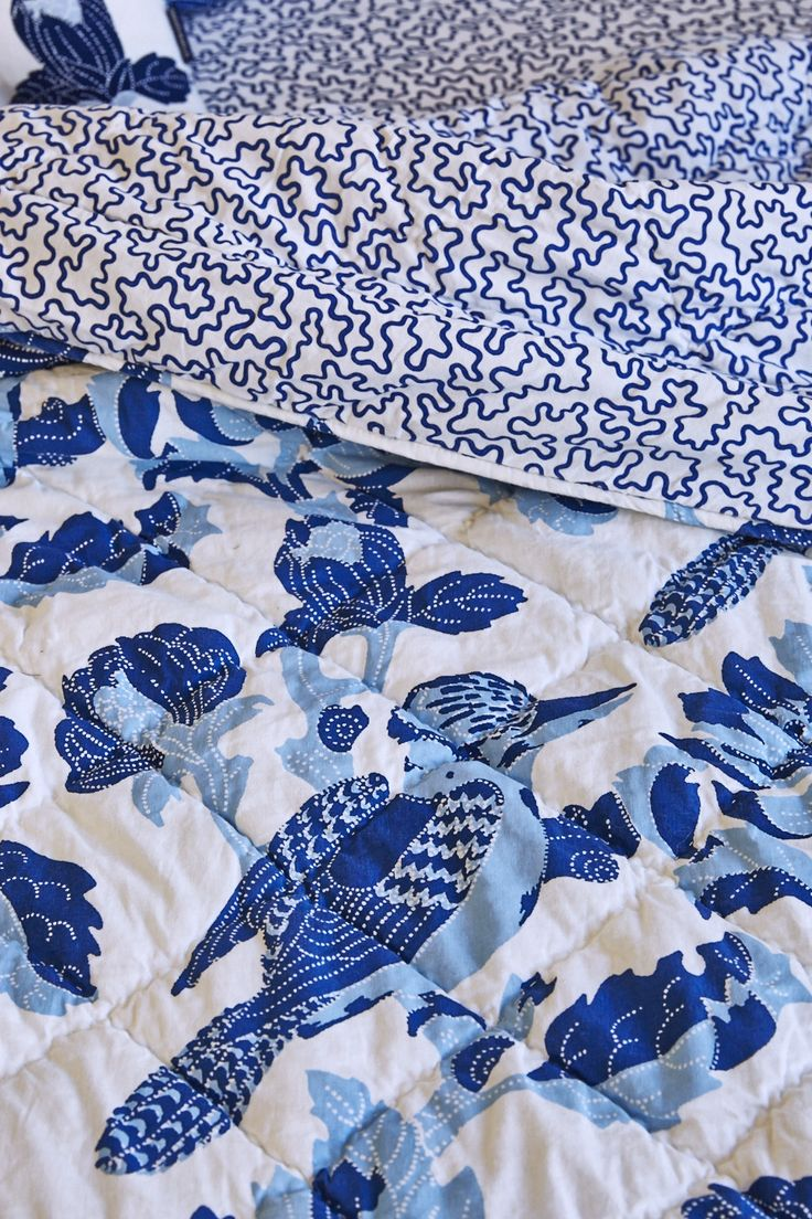 Utopia Goods hand printed and illustrated quilt. Strictly limited edition and hand stitched details. Pure cotton handle. www.utopiagoods.com