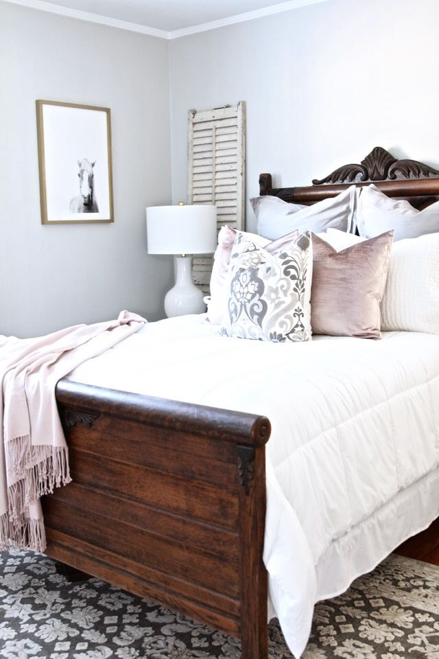 i love the bedding colours with the dark wood exact same as our bed - Dark Wood Bed Frame