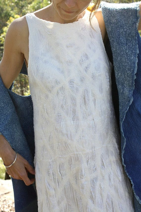 Divine white silk nuno felt dress by GinaMastio on Etsy, $790.00 Nuno felted clothing
