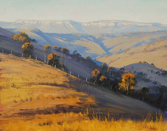 BLUE MOUNTAINS LANDSCAPE Oil painting by GerckenGallery on Etsy, $159.00 - love all his work.