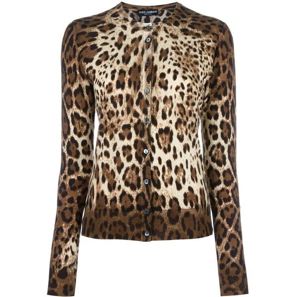 Dolce & Gabbana leopard print cardigan (91.045 RUB) ❤ liked on Polyvore featuring tops, cardigans, brown, long sleeve tops, leopard cardigan, ribbed cardigan, fitted cardigan and long sleeve cardigan
