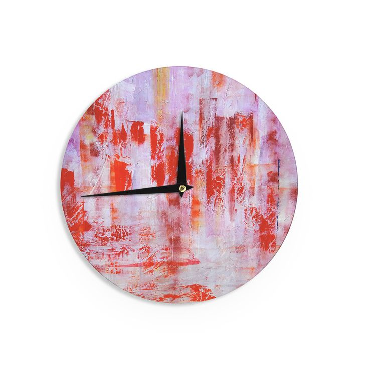 "Malia Shields ""Painted Cityscape"" Pink Red Wall Clock"