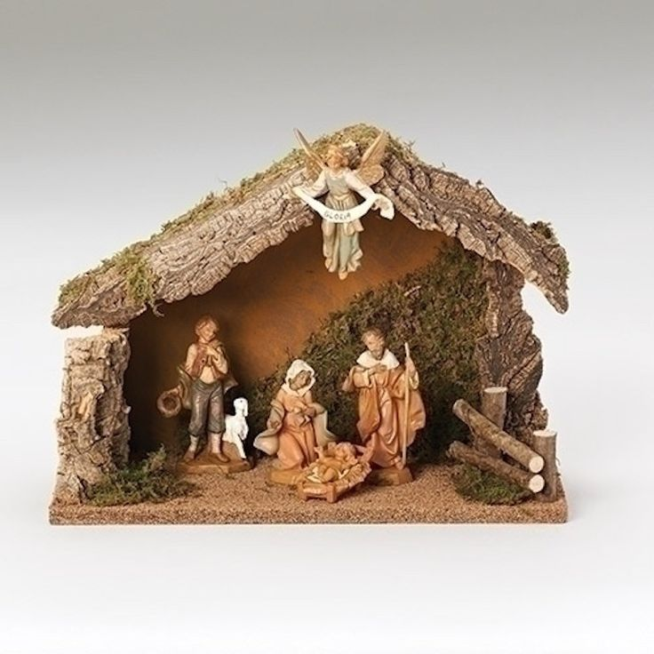 Nativity Scene With 5 Pieces Italian Wooden Stable Fontanini Superior Quality