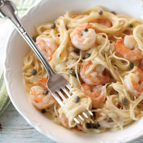 This Lemony Shrimp and Caper Pasta is so quick and easy to assemble because the pasta does not have to be boiled beforehand--it cooks right in the pot.