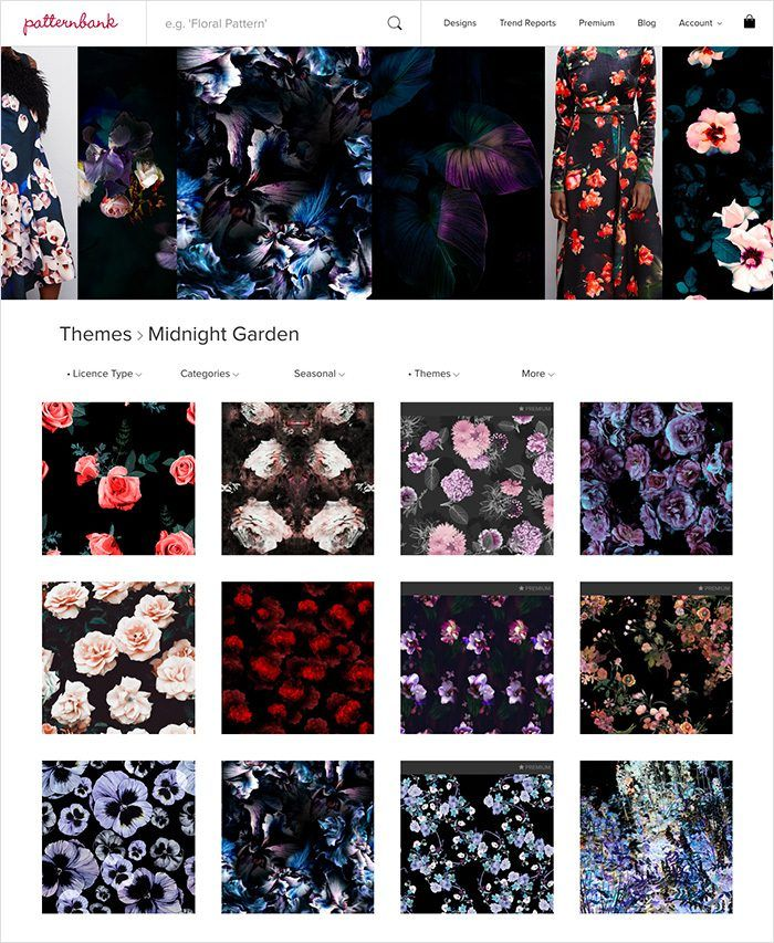 Midnight Garden AW1718 Seasonal Trend Theme - Online Textile Print Design Studio