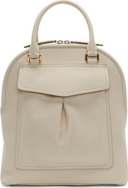 Burberry Prorsum Off_white Pebbled Leather Medium Bowling Bag in White