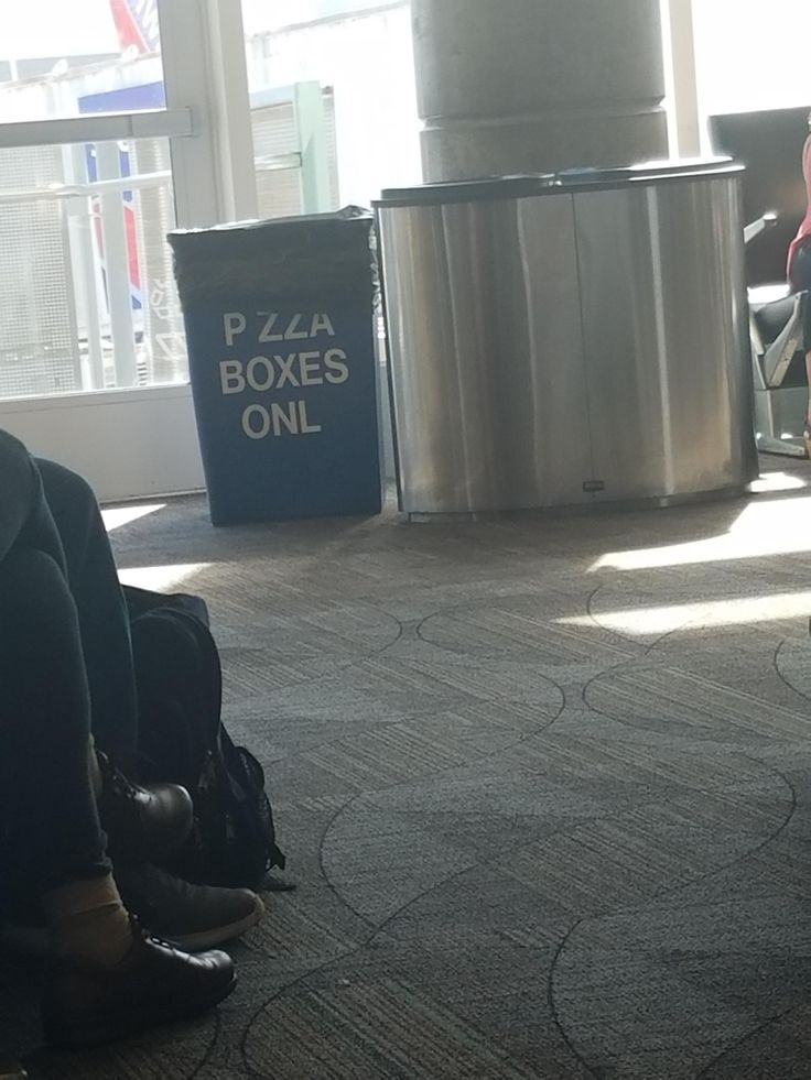 "This ""Pizza Boxes Only"" garbage can at Ft. Lauderdale airport."