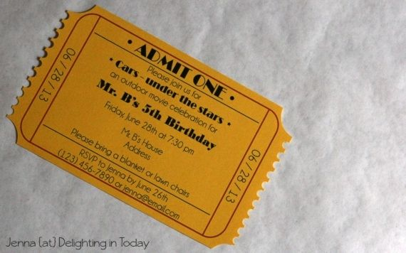 Movie Ticket Party Invititation Tutorial {And A Free Template Too!}   Delighting in Today