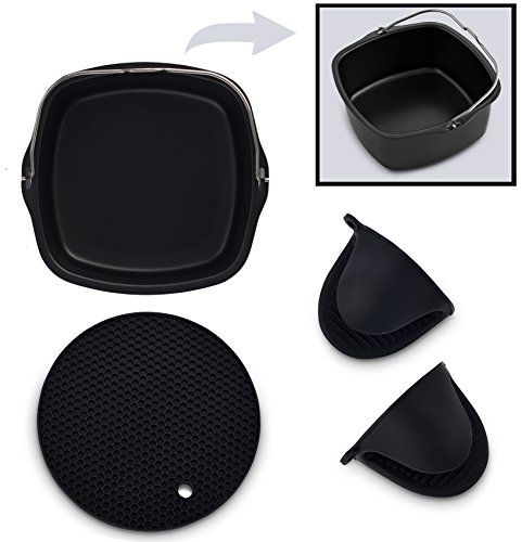 Air Fryer Non-Stick Baking Pan Fits Philips Airfryer, GoWise USA, Power Airfryer, Cozyna, Avalon Bay & Premium Silicone Mini Oven Mitts & Silicone Trivet-Air Fryer Accessories-Set of 3 ( Black)  COMPLETE AIR FRYER VALUE BUNDLE:This amazing 3-in-1 air fryer accessory bundle will provide you with all the additional utility you need in your kitchen, and will transform your regular baking and cooking to a really enjoyable experience. COMPATIBLE with Philips Viva Collection Airfryer model H...