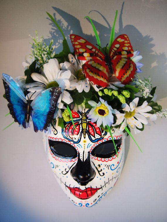 Day of the dead mask roses buterflies máscara catrina dia de los muertos mexican skull on