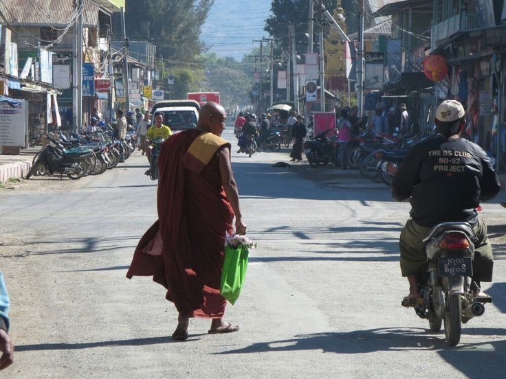 Monk in the streets of Nyaung Shwe (Inle Lake), Myanmar