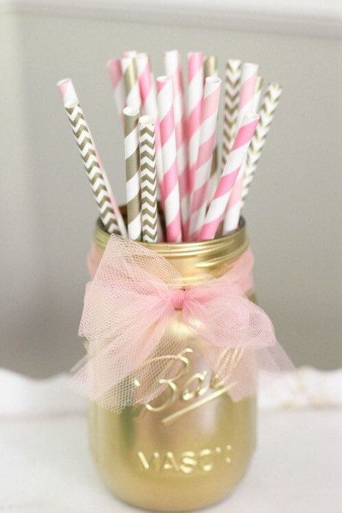 Gold and Pink Paper Straws Birthday by SunshineChloeCrafts on Etsy