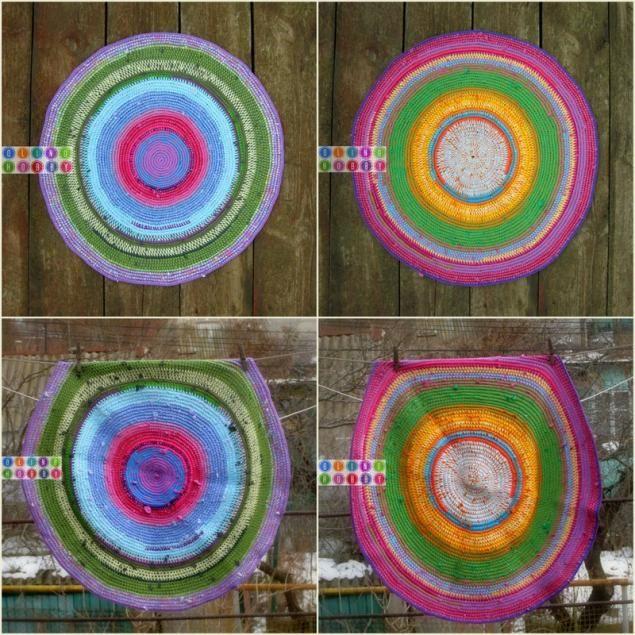 Woven rug from t-shirts and balances yarn (bright and unusual way) - Fair Masters - handmade, handmade