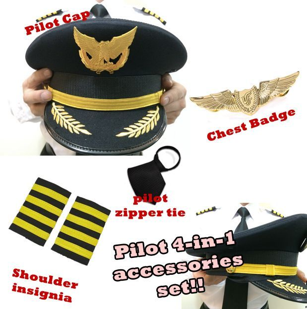 Airline Navy Pilot Hat Accessory for Airline Pilot Fancy Dress Aviator Costume