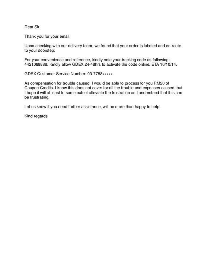 apology letter to customer regarding delivery delay for