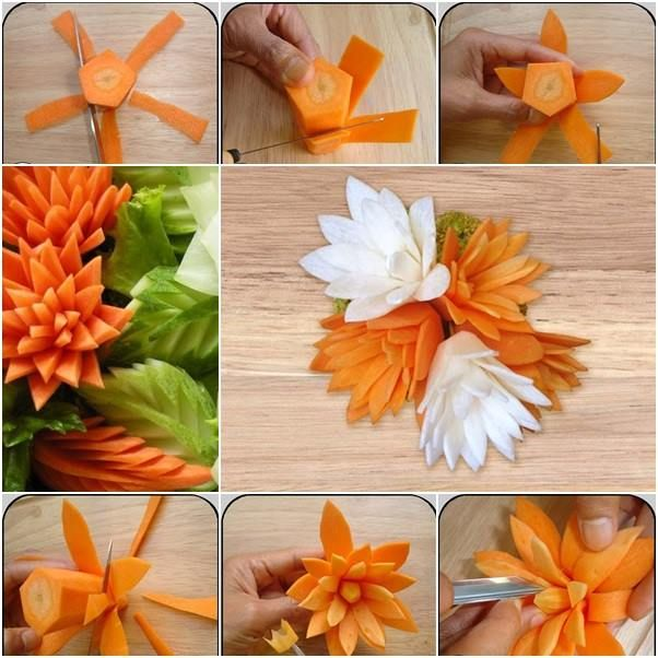 Cucumber, carrot or radish are common elements for dish garnish, due to the bright color of carrot, it's used more often by chef to make beautiful flowers or animals for dish display. You can put the carrot into salt water before cutting, so they are not just for decorating, but edible too! #cuteediblegarnish #prettycarrotflowers #amazingveggiedecors