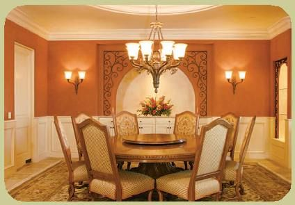 Orange dining room - wall color is excellent for a warm dining room