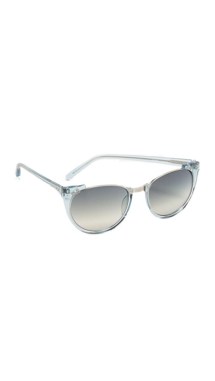 Linda Farrow Luxe Women's Rimless Top Sunglasses, Mineral/Blue Grey, One Size. Height 1.75in / 4.5cm.
