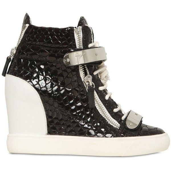 GIUSEPPE ZANOTTI 90mm Patent Leather Wedge Sneakers ($995) ❤ liked on Polyvore featuring shoes, sneakers, black, black velcro sneakers, wedged sneakers, black wedge shoes, crocs sneakers and crocs shoes