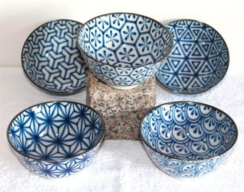71 Japan Reisschalen 5er Set Matcha Dessert Suppe Müsli Porzellan blau Schale in Möbel & Wohnen, Kochen & Genießen, Gedeckter Tisch | eBay