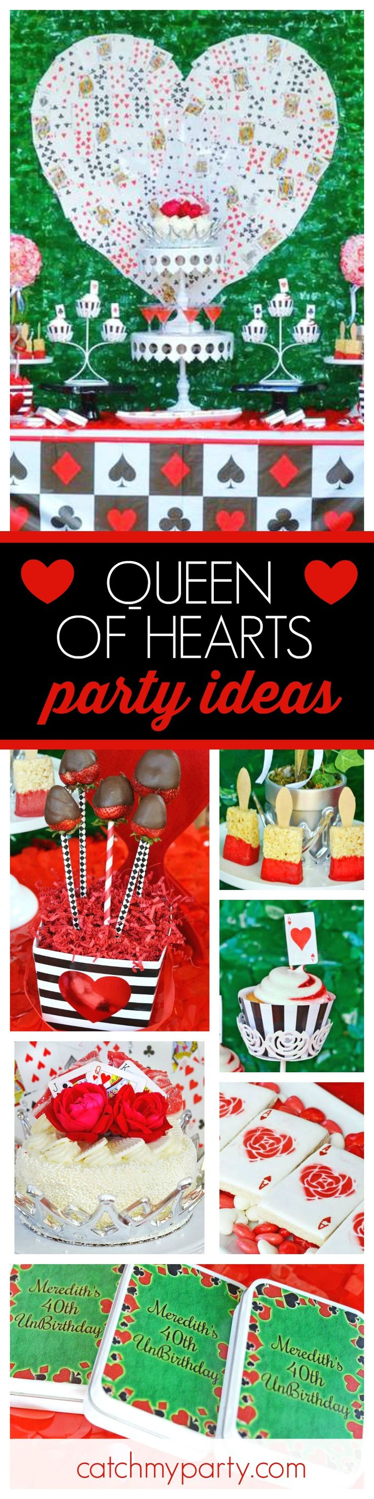 Take a look at this awesome Alice in Wonderland inspired Queen of Hearts Valentine's party. The dessert table is fantastic!! See more party ideas and share yours at CatchMyParty.com