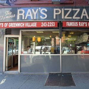 This is it! This is the REAL Ray's Pizza. 11the and 6th ave., New York, New York. You can't say you've been to NYC if you haven't had a slice at Ray's.  You're in, you're out.  No doddling or they'll turn all soup-nazi on you. And eat that pizza like a man! A knife and fork? Whatsamattaferu? Pick it up, fold it in half and eat it in 3 bites, ya moosh!