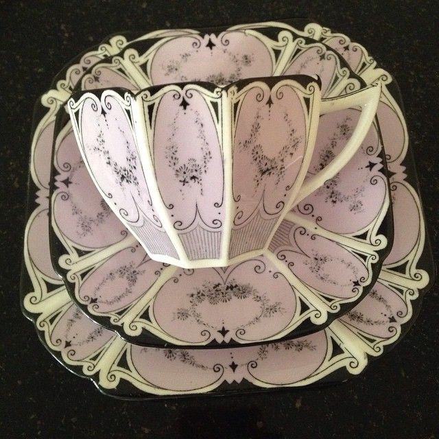 Beautiful pink, black, and cream tea cup and saucers #teacupchic