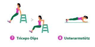 7-Minuten-Workout: Triceps-Dips & Unterarmstütz