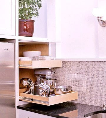 Slide out drawers for appliance storage!!Kitchens Organic Drawers, Small Appliances, Appliances Storage, Appliances Garages, Kitchen Storage, Corner Storage, Appliances Hideaway, Kitchen Appliances, Garages Ideas