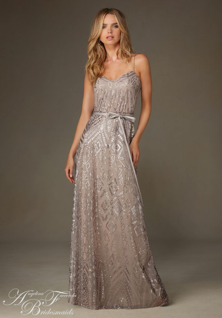 Bridesmaids Dresses by Angelina Feccenda Patterned Sequin on Mesh Available in the following select color ways only: Blush, Champagne, Taupe, and Navy.