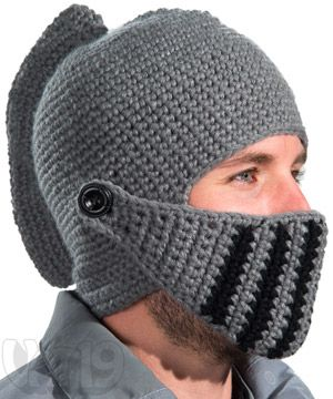 Crocheted Knight Hat with Pivoting Visor and Comb.