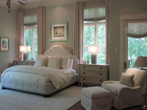 Master Bedroom idea- king bed between two window but pulled forward a bit allowing the drapery to fall behind. Good solution when wall is not wide enough