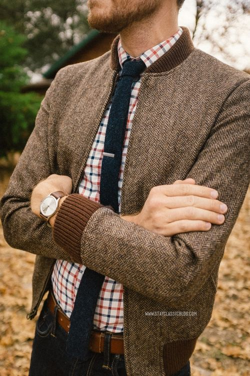 Bonobos Camden tweed jacket and Rhodes Collar Oxford on Tim.