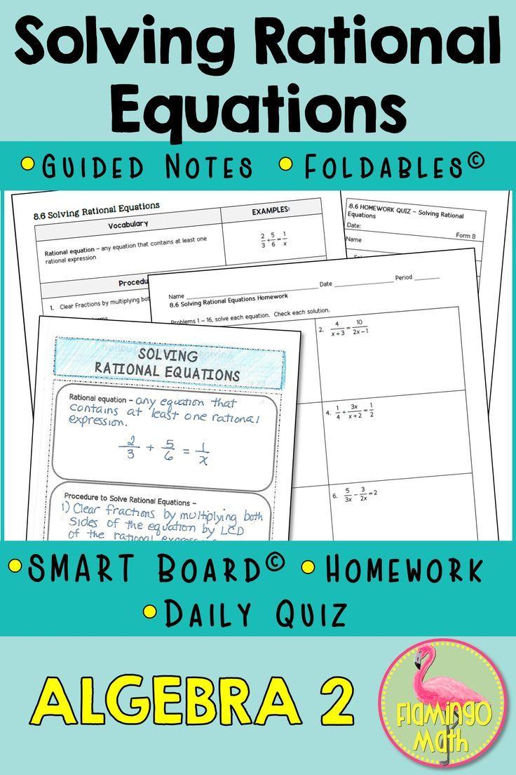 Solving Rational Equations Algebra 2 Unit 8 Rational Expressions Smart Board Lessons Equations Adding rational expressions with like