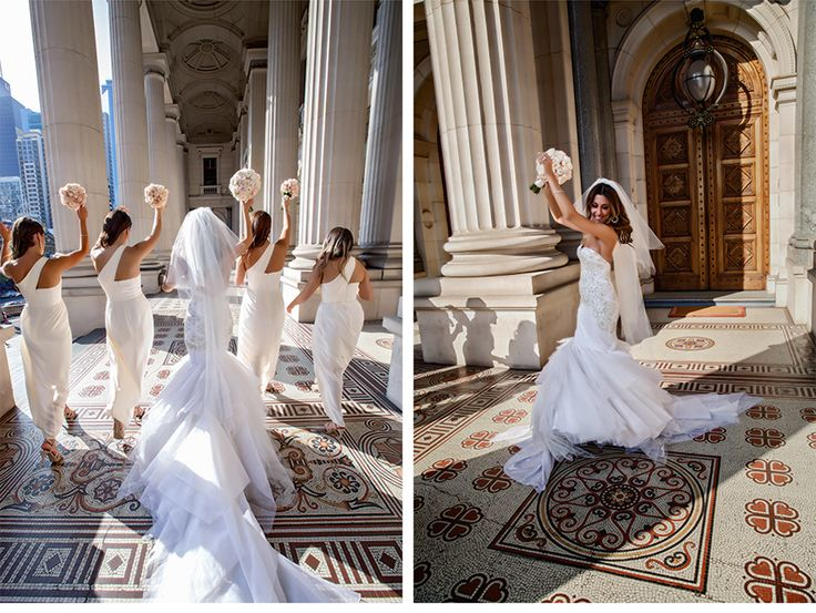 Fashion-Inspired Wedding in Melbourne, Australia - Be inspired by Vicki & Stephen's luxurious and fashionable wedding in Melbourne, Australia #wedding #luxury #couture #fashion #inspired #melbourne #australia #greek #orthodox #dancing #bridesmaids #photo #historic #building #tiles #dress #train