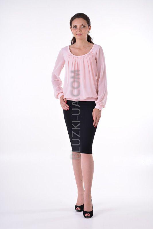 Удобная женственная блуза розового цвета с драпировками и напуском на талии, купить онлайн. Интернет-магазин БЛУЗКИ UA, Украина - женская одежда и женские блузы.