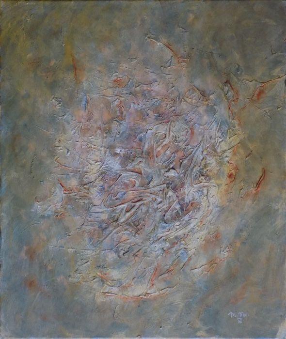 Rodící se struktura (Nascent structure) Acrylic on canvas, 50x60cm, © Mirek Vojáček