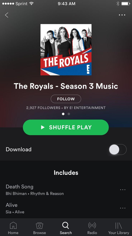 Impossível não se viciar na trilha sonora de The Royals! Além de ajudar a contar a história da série, como em One Tree Hill, as músicas são inspiradoras. Espetáculo!!! E está disponível no Spotify, de graça 🎧