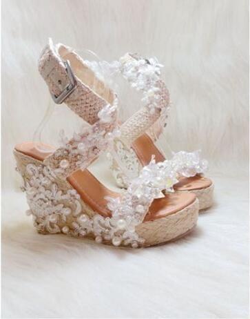 white lace unique design crystal fringe high heels