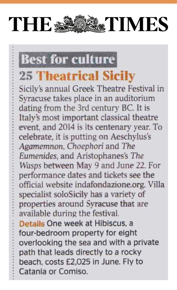 Our villa Hibiscus on The Times #Culture #Theatrical #Sicily #Syracuse