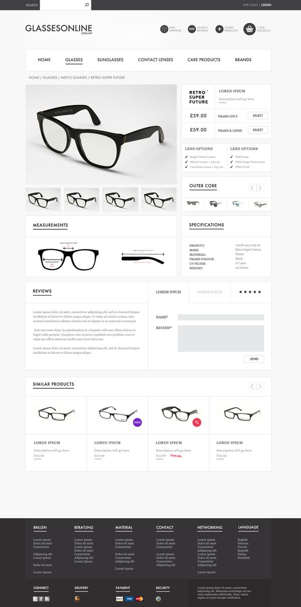 Ecommerce Glasses store product page Webdesign