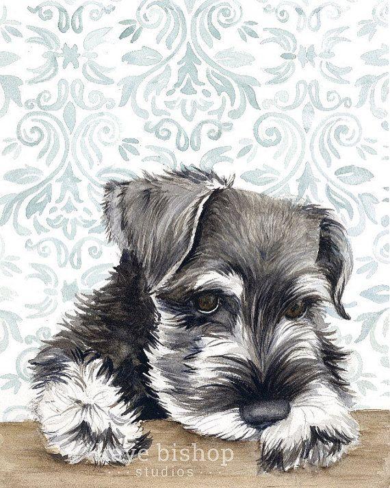 Schnauzer mini acuarela pintura arte Animal por KayeBishopStudios