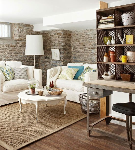 expose brick or stone basement walls & integrate them into the decor - wish I had some!