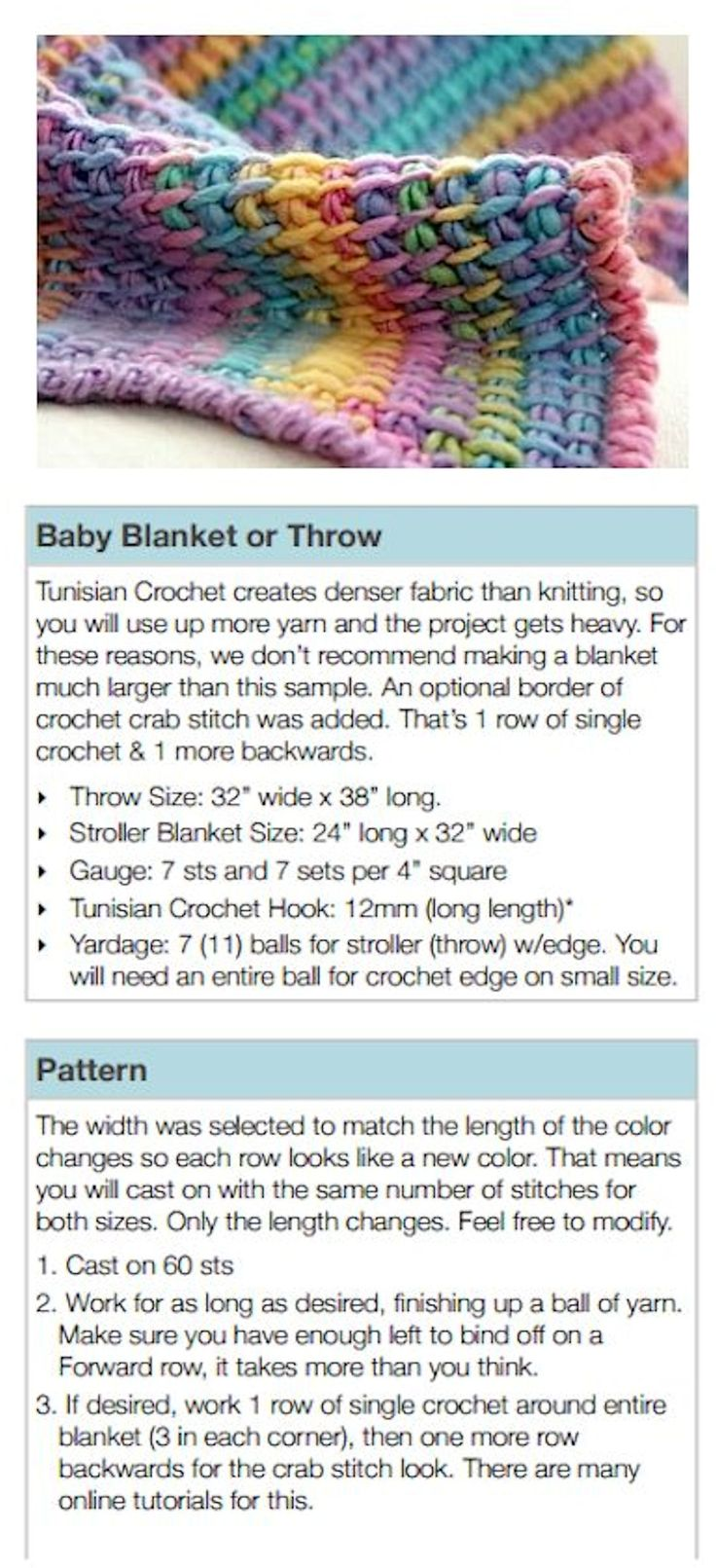 Tunisian Crochet – Blanket (to make a larger size, double the skeins of yarn needed and the cast on stitches… I would also use this hook www.pinterest.com… and method www.pinterest.com… – Deb)