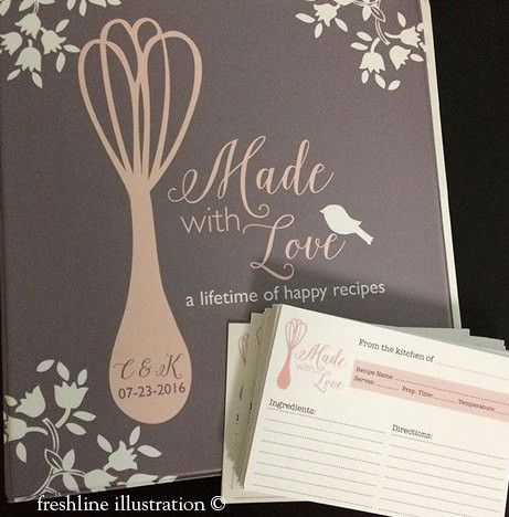 This listing is for a personalized bridal shower set that includes one custom recipe binder (with 10 inserts) and the amount of recipe cards you chose from the drop down menu. To order more than the a
