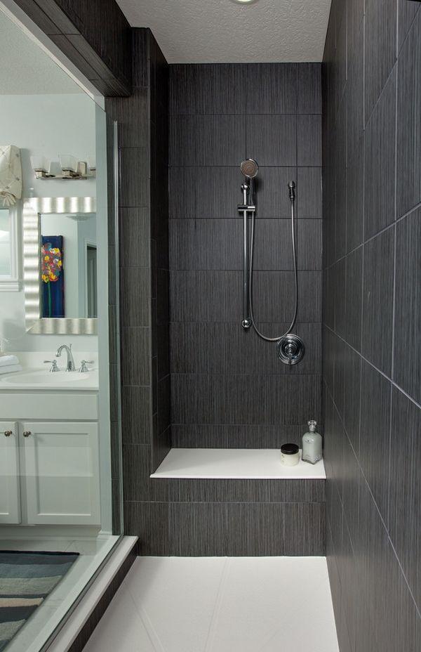 Dark Gray Large Shower Tiles Walk In Ideas Gl Door Contemporary Bathroom Design