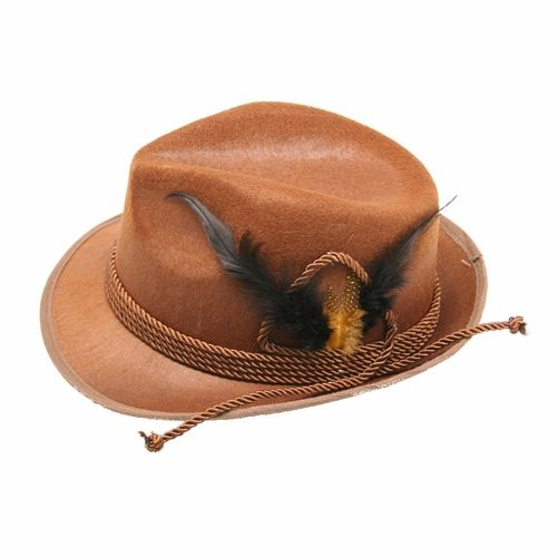 Brown Tyrolean Oktoberfest Hat