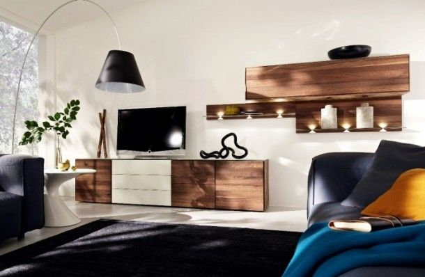 Decoration - Amazing Artisan Crafted Raw Wood Media Unit With Wooden Hanging Unit: Wood Wall Panels Unit Combinations Design Ideas by Hülsta...