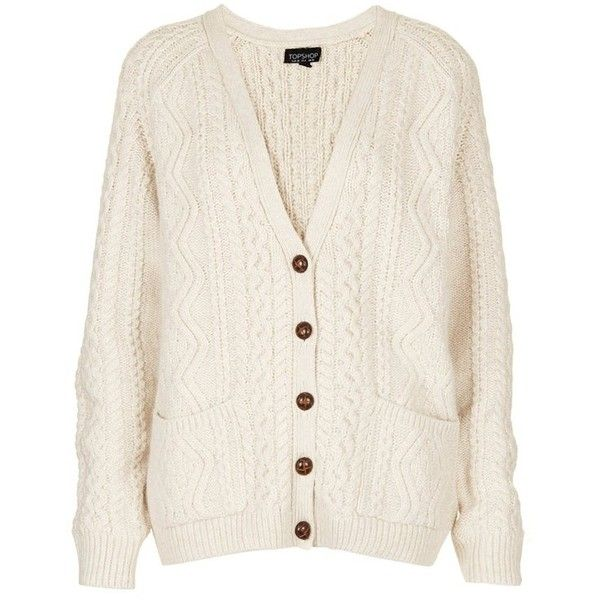 Topshop Cable Knit V Neck Cardigan   E D A Liked On Polyvore Featuring Tops