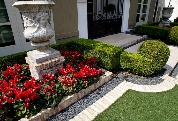 Close up of home front detail. Sharply trimmed boxwood hedges frame color beds of Cyclamen which accent mirrored sculpted planters. White brick separates the artificial lawn from borders of blackstar gravel.